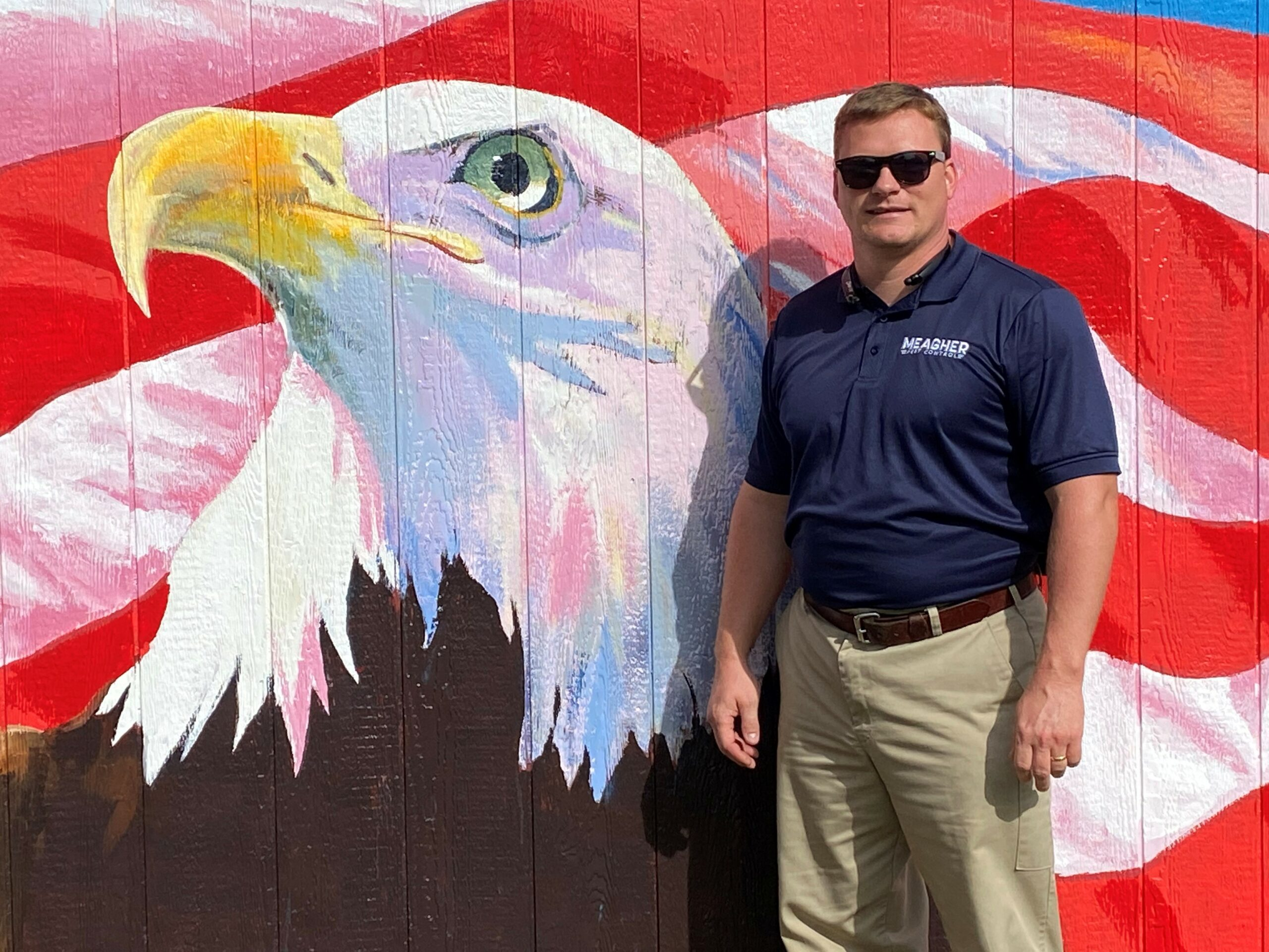James next to Eagle Mural